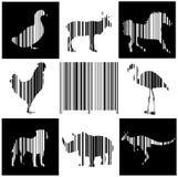 животные как код штриховой маркировки иллюстрация штока