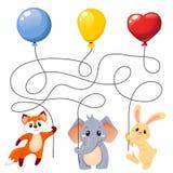 Животные летая с воздушными шарами Головоломка Игра лабиринта для детей Найдите которое животное держа который воздушный шар бесплатная иллюстрация
