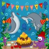 Животные дня рождения морские иллюстрация вектора