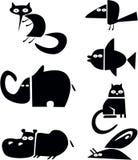 животные силуэты Стоковое Изображение RF