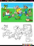 Животные характеры играя книжка-раскраску футбола Стоковая Фотография