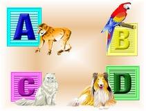 животные abcd Иллюстрация штока
