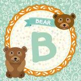 Животные b ABC медведь Алфавит детей английский вектор Стоковое Изображение