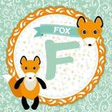Животные f ABC лиса Алфавит детей английский вектор Стоковое Изображение