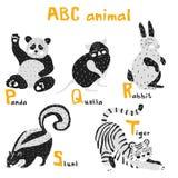 Животные Scandi милые установили алфавит abc, комплект для элементов abc детей в скандинавском стиле стоковая фотография rf