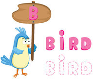Животный алфавит b с птицей Стоковая Фотография