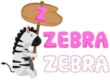 Животный алфавит z с зеброй Стоковое Изображение