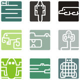 животный квадрат икон Стоковые Изображения RF