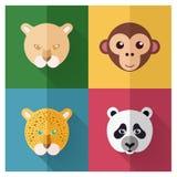 Животный комплект значка с плоской иллюстрацией дизайна/вектора Иллюстрация штока