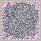 Животный чертеж кожи леопарда с квадратной рамкой завязанных золотых шнуров и цветков лилии Изолированный вектор цвета иллюстрация штока