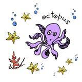 Животн-осьминог моря, морская звёзда Стоковые Фото