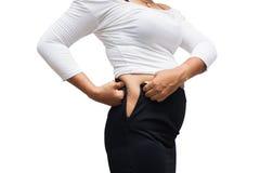 Живот жировых отложений женщин стоковая фотография