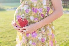 Живот символа беременной женщины и сердца outdoors Стоковые Изображения