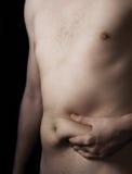 живот человека залеми тучный Стоковая Фотография RF