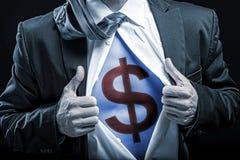 живот bussinessman голубой с знаком доллара Стоковая Фотография