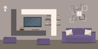 Живущая комната в бежевых цветах с софой и домашним кино Стоковые Изображения