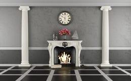 Живущая комната в классическом стиле с камином бесплатная иллюстрация