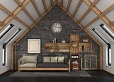Живущая комната в мансарде Стоковые Изображения
