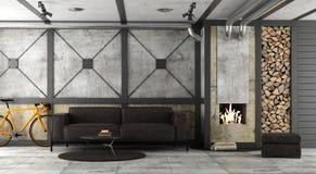 Живущая комната в просторной квартире с камином бесплатная иллюстрация