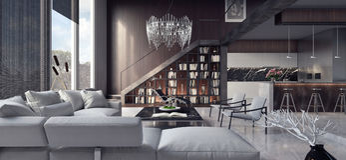 Живущая комната, дизайн интерьера Стоковая Фотография