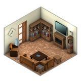 Живущая комната и камин Стоковые Изображения