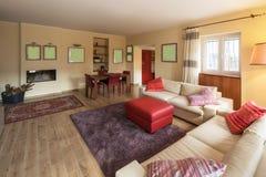Живущая комната обеспеченная в современной квартире Стоковое фото RF