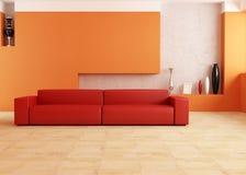 живущая комната померанцового красного цвета Стоковые Изображения RF