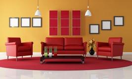 живущая комната померанцового красного цвета