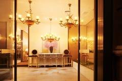 Живущая комната привела освещение стоковая фотография rf