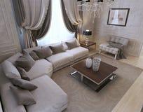 Живущая комната, стиль стиля Арт Деко, классический стиль Стоковые Изображения RF