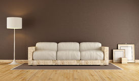 Живущая комната с деревянной софой Стоковые Изображения RF