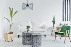 Живущая комната с зеленым креслом стоковое изображение