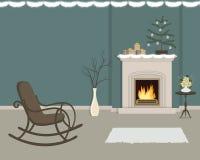 Живущая комната с камином, украшенным с украшениями рождества бесплатная иллюстрация