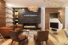 Живущая комната с кожаными софой и креслом около камина Стоковое Фото