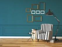 Живущая комната с креслом и книгами, 3d Стоковое фото RF