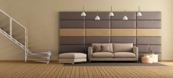 Живущая комната с современной лестницей и коричневой мебелью иллюстрация вектора
