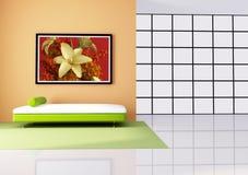 живущая минималист белизна комнаты померанцового красного цвета бесплатная иллюстрация