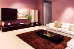живущая пурпуровая комната Стоковое Изображение