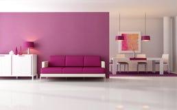 живущая самомоднейшая пурпуровая комната Стоковое Фото