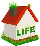 Живущий дом на белой предпосылке Стоковое Изображение
