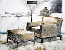 живущий самомоднейший эскиз комнаты Стоковые Фото