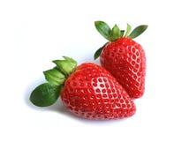 2 живых красных свежих зрелых плодоовощ клубники изолированного на белой предпосылке Стоковое Изображение