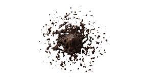 Жидкостная помарка шоколада брызгая на поле | Белая предпосылка бесплатная иллюстрация