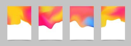 Жидкостное жидкое абстрактное яркое оранжевое красочное собрание плаката Стоковые Фотографии RF