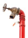 Жидкостный огнетушитель при клапан изолированный на белизне стоковое изображение
