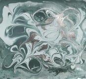 Жидкостным картина мраморизованная золотом Бледная ая-зелен предпосылка Стоковое Фото