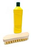 жидкость чистки щетки бутылки scrub деревянным Стоковая Фотография