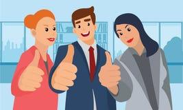 Жизнерадостная бизнес-группа давая большие пальцы руки вверх Стоковое Изображение