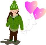 Жизнерадостная девушка с воздушным шаром