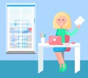 Жизнерадостная женщина с плакатом листа бумаги красочным иллюстрация вектора